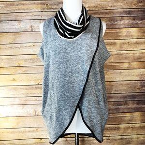 THML Grey & Black Cowl Neck Knit Pullover Vest